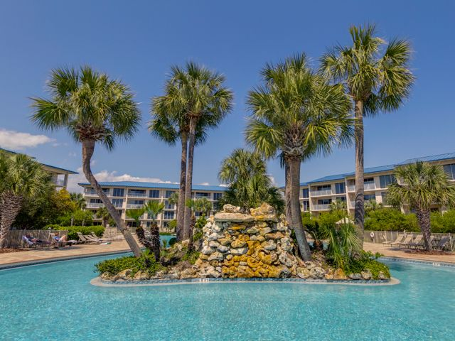 Huge Tropical Lagoon Pool With Waterfall at the Best High Pointe Condo in Seacrest, Florida